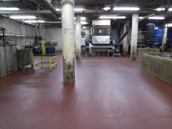 Chemical processing floor area resurfaced and protected with MaxCrete 300 Epoxy Novolac screed