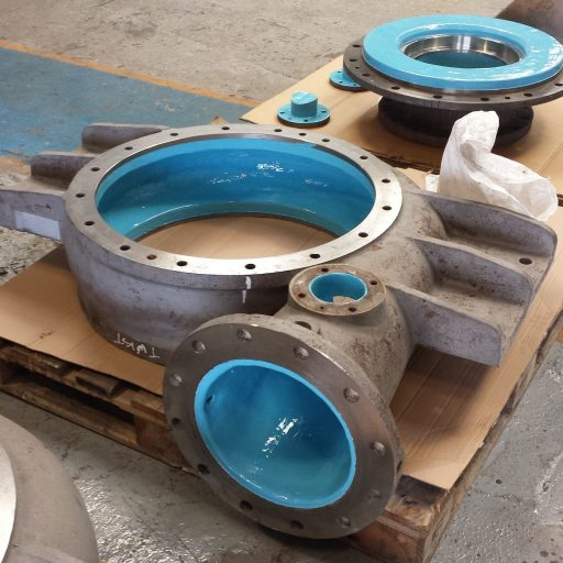 Pump casing protected with maxceram 300 epoxy efficiency coating