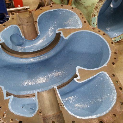 split case pump body coating