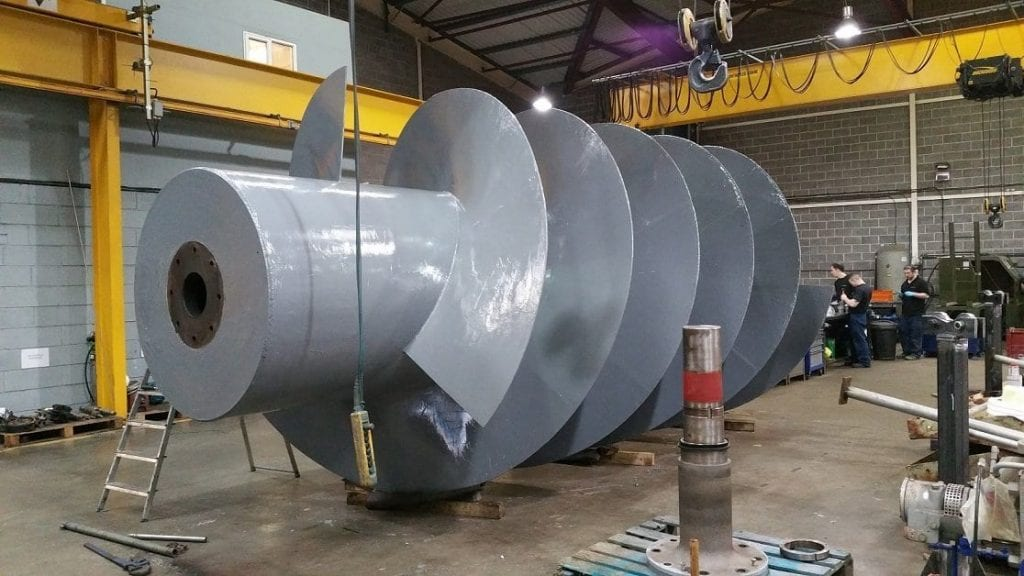 wear coating applied to archimedes screw